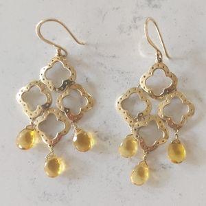 Stella & Dot Quatrefoil earrings in gold